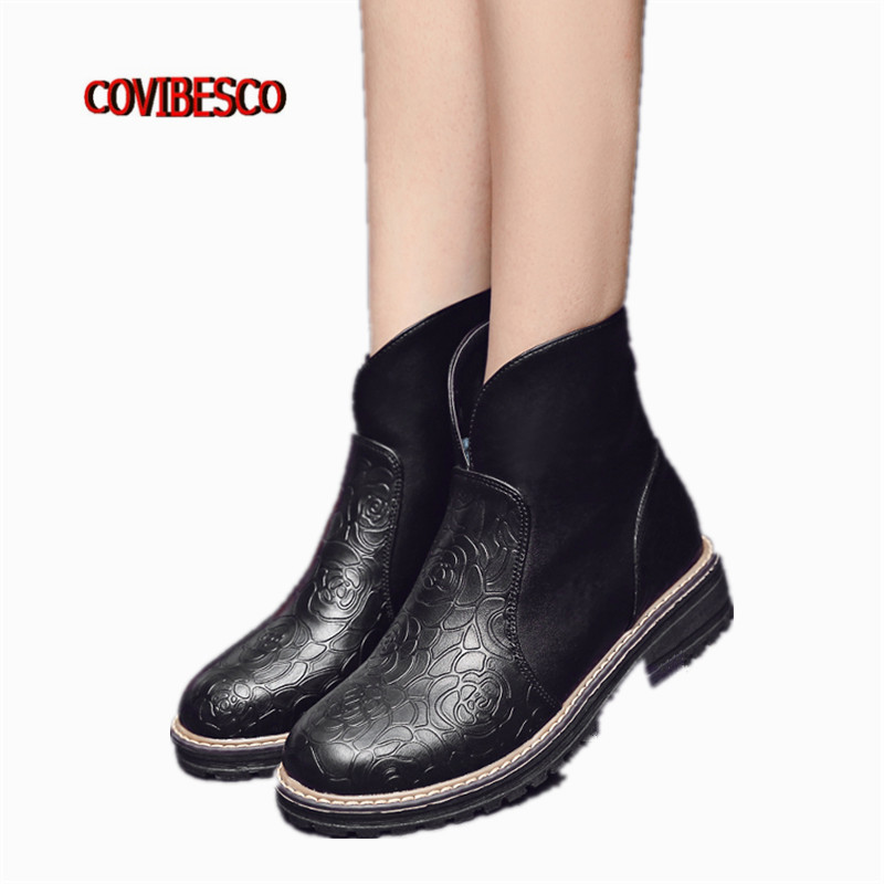 ФОТО Punk sexy ankle boots for women fashion black high quality autumn winter warm martin shoes female short motorcycle boots