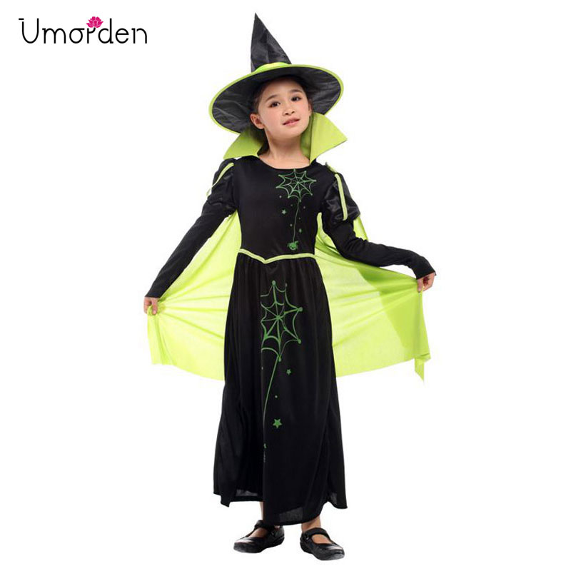 Umorden Kids Wicked Witch Costume for Girls Wizard Of Oz 75th Anniversary Edition Green Cape Halloween Carnival Dress Up in Girls Costumes from Novelty Special Use