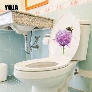 YOJA 19,5X22,4 см Чернила всплеск живопись красивый цветок и пчелка художественная роспись домашний декор наклейка на крышку в туалете наклейка ...