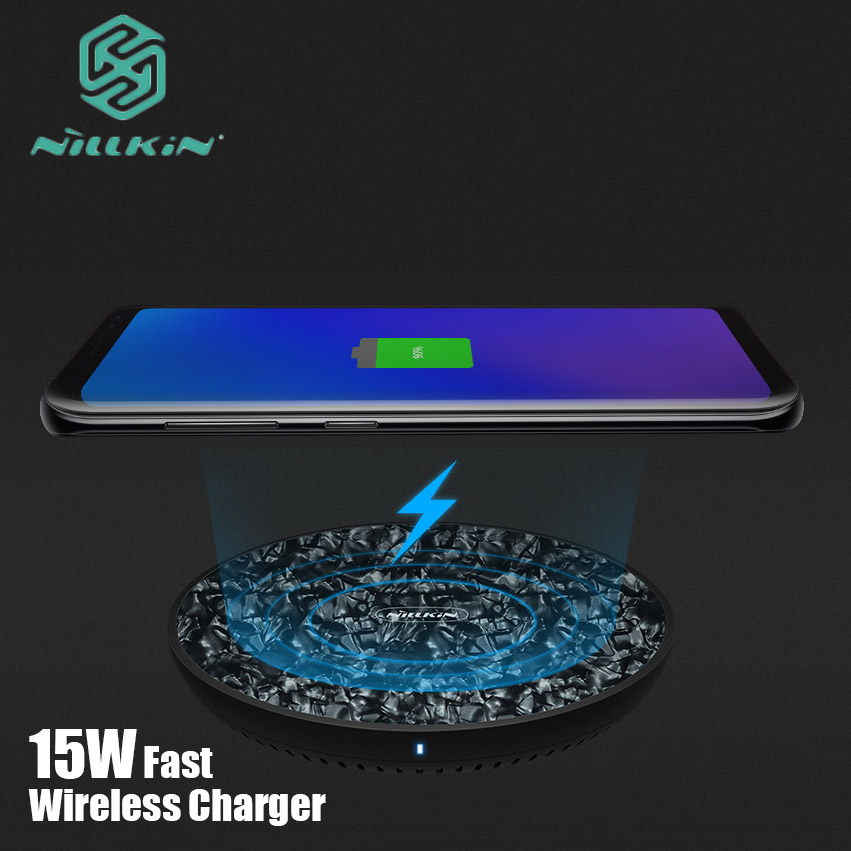 Nillkin Qi Wireless Charger for iPhone XS Max XR X 8 Plus 15W Fast Tempered Glass Panel Charging Pad for Samsung Note 9 8 S9 S8