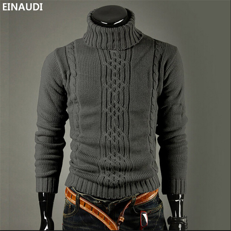 Einaudi 2017 Autumn Male Knitting Turtleneck Sweaters Slim Man British Style Boutique Pullovers Winter Warm Sweater Hombre Xxl