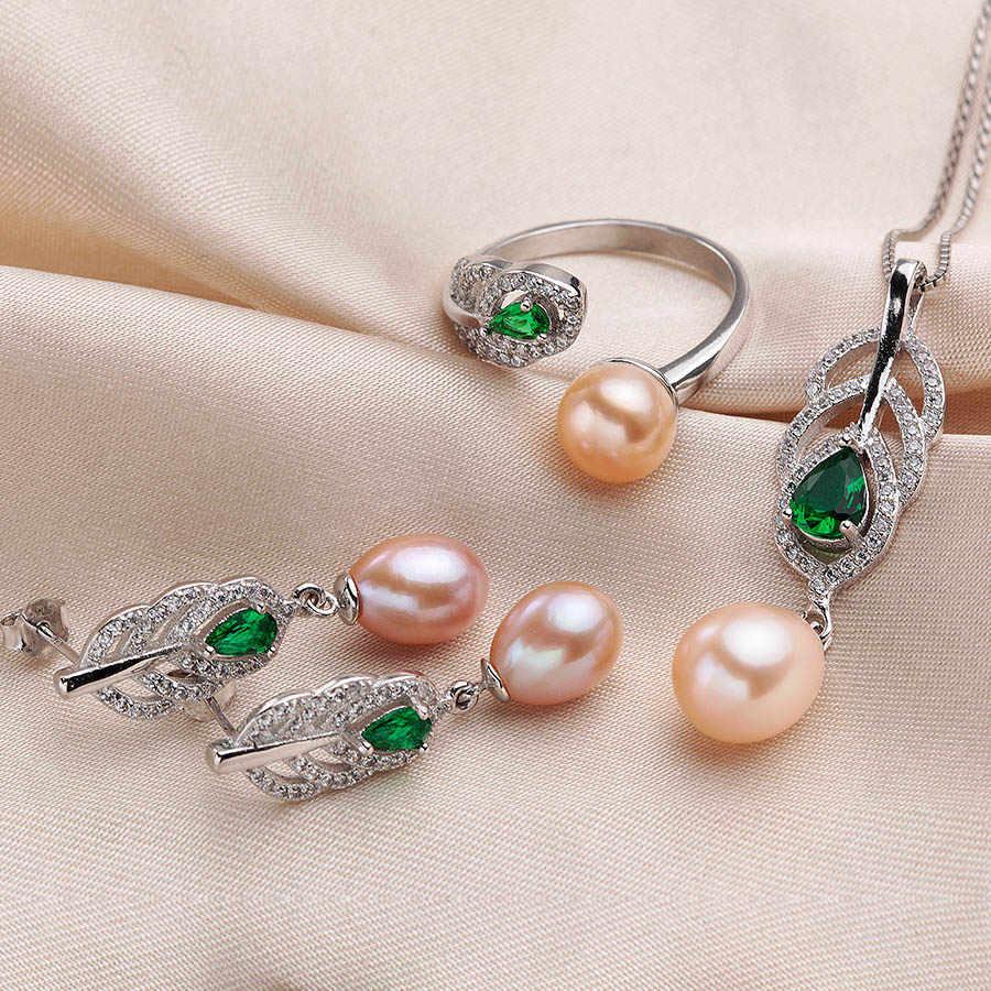 Năm 2019 Phần Lớn thời trang Ngọc Trai Tự Nhiên Bộ Nữ AAAA cao chất lượng dây chuyền bạc nữ Bông tai Nhẫn pha lê Xanh 4 màu LINDO