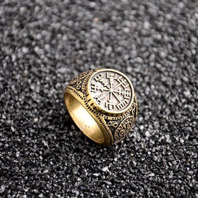 1 PCS Vintage Compass Viking Rune Finger Rings Nordic Runes Size 8 Biker Punk Odin Symbol For Women Men Gothic Jewelry Gift 4
