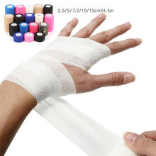 Bandagem adesiva auto-adesiva, kit de primeiros socorros, gaze para corpo esportiva, fita veterinária de proteção de segurança, emergência 2.5/5/7.5/10/15cm