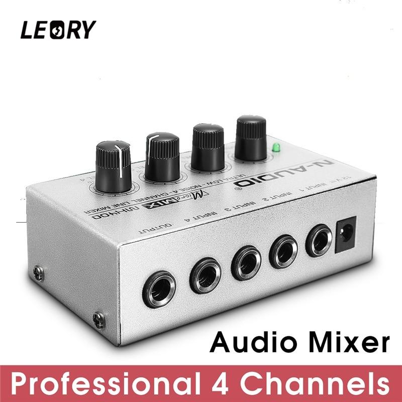 LEORY Protable 4 Kanal Audio Sound Mixer Mini DJ Musik Mischpult Silber DJ Mezclador Für Audio PC Startseite Karaoke KTV