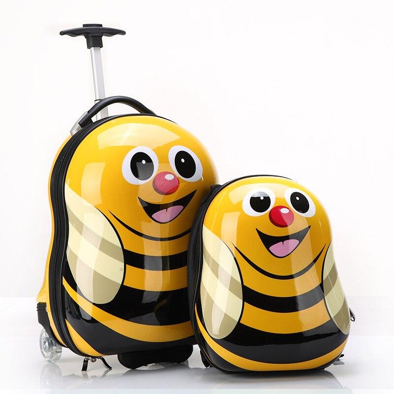 LeTrend lindo dibujos animados niños Juego de equipaje giratorio maleta ruedas estudiantes llevar en carro niños animal bolsa de viaje-in Maletas from Maletas y bolsas    1