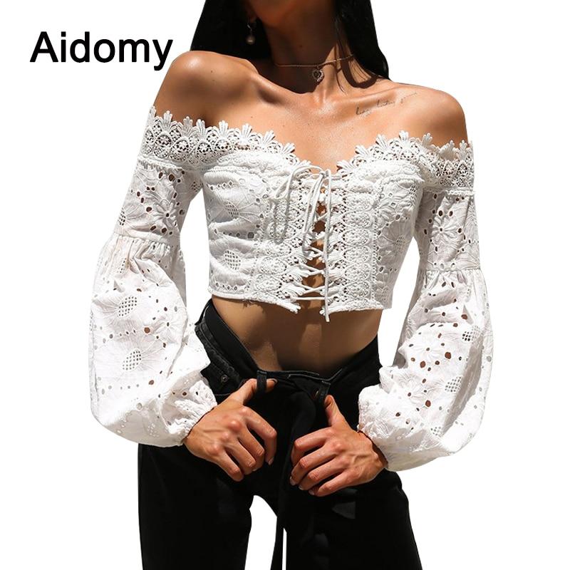 Black White Lace Crochet Crop Top Sexy Off Shoulder Lantern Sleeve Tank Tops Women Short Tees Casual 90s Cool Streetwear Tops