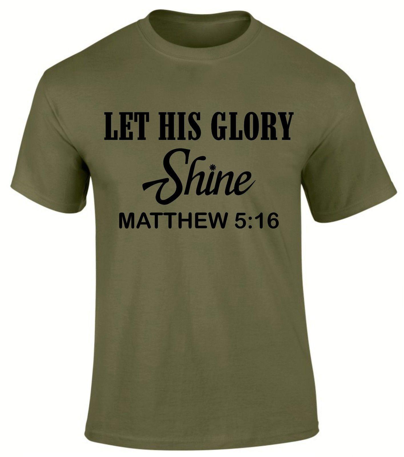 Пусть его слава Shine Light Кристиан Евангелие церкви Писания Для мужчин футболка