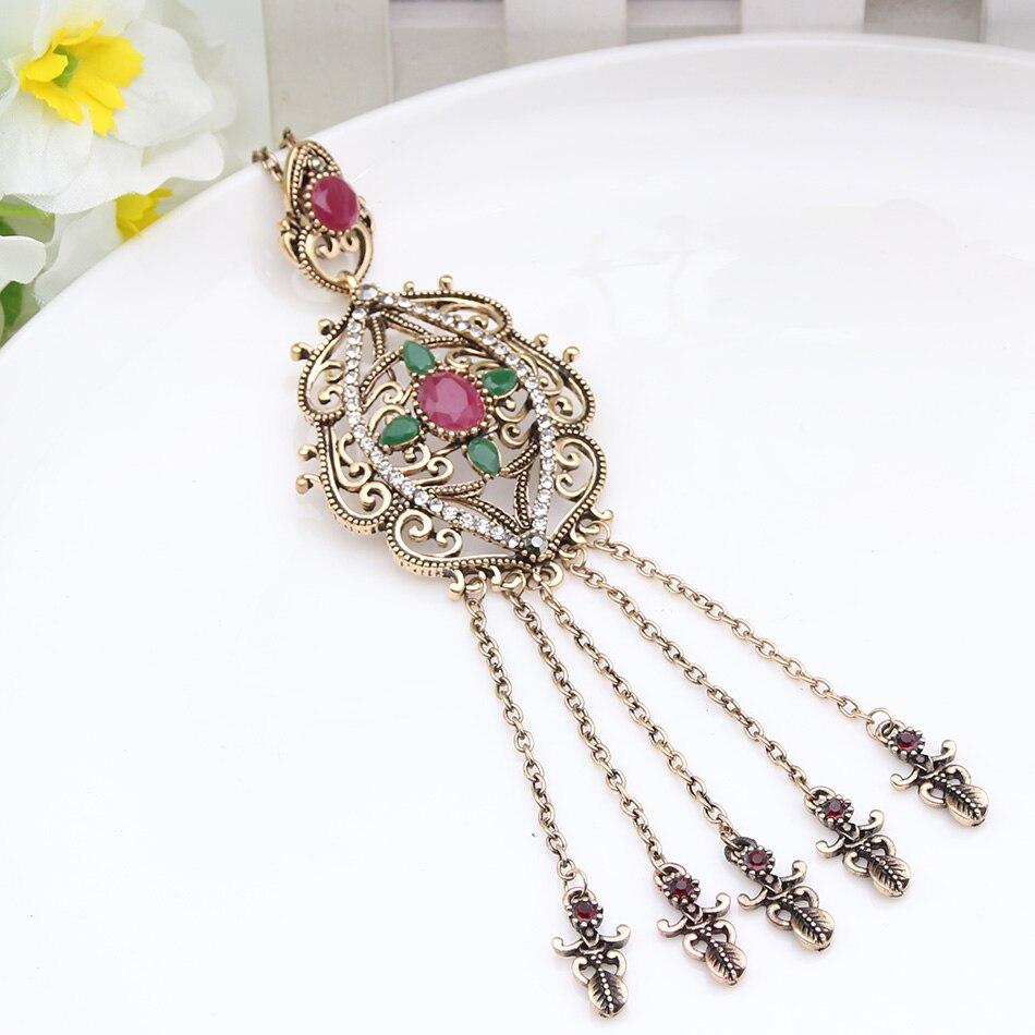Boho Femmes Vintage Double Chaîne ethnique antique turque Collier Pendentif Bijoux