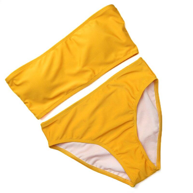 HTB1eMc7bFHM8KJjSZFwq6AibXXaS PLAVKY 2019 Retro Sexy Yellow Striped Strapless Bandeau Biquini Cut High Waist Swim Bathing Suit Swimsuit Swimwear Women Bikini