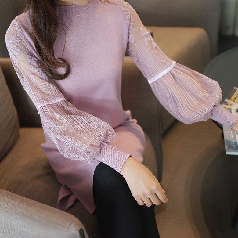 2018 dames Solide Couleur chaude mode coréenne chandail de femmes femmes Coréennes nouvelle manches dentelle à tricoter chandail Tricoté Livraison Gratuite