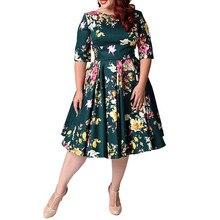 Women Vintage Half Sleeve O-Neck Dress Zipper Floral Print Tunic Big Swing Dresses Plus Size Large Size Spring недорого