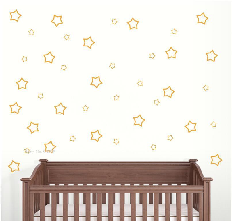 € 1.82 25% de réduction|Étoiles Stickers muraux pour enfants chambre bébé  pépinière vinyle Stickers muraux amovible décoration de la maison non ...