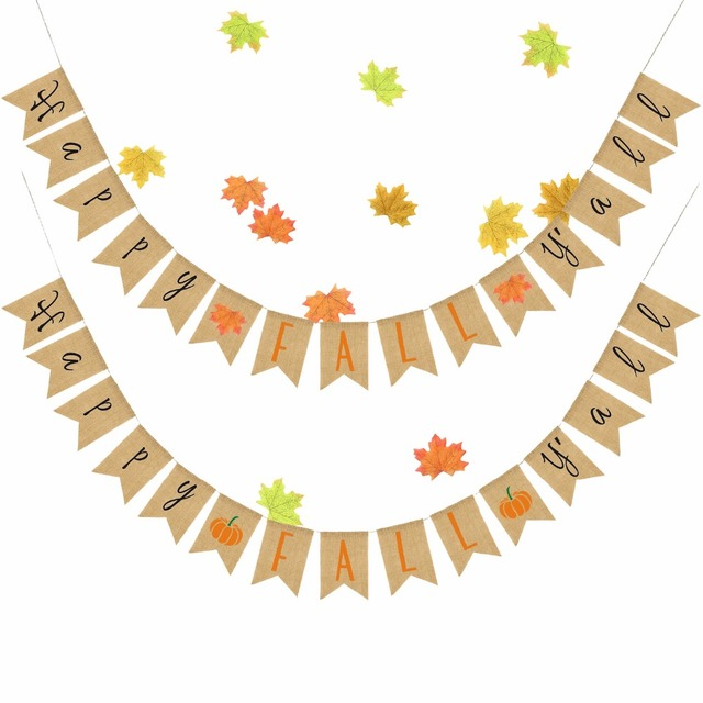 Burlap Banner Hanging Linen Flags Happy Fall Yall Pumpkin Maple Leaf Bunting Garland Thanksgiving Party