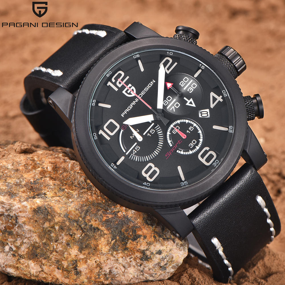 PAGANI Design Luxury Brand Sport Leather Chronograph Quartz Watch Men Waterproof Clock Men's Army Military Wrist Watch Mens luxury brand pagani design waterproof quartz watch army military leather watch clock sports men s watches relogios masculino
