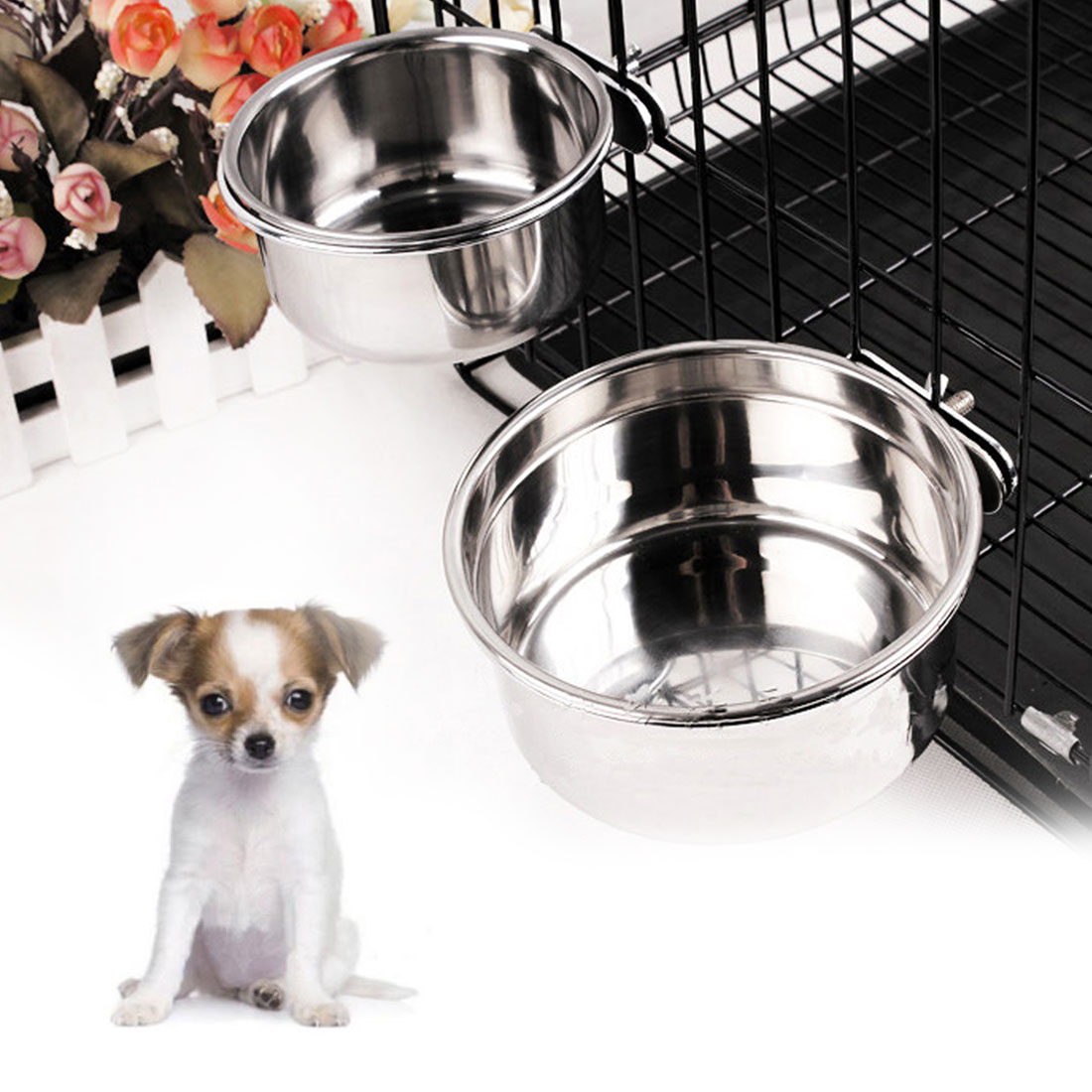 1pc Stainless Steel Hanging-on Bowl For Pet Dog Cat Food Water Bowl For Crates Cages Dog Parrot Bird Pet