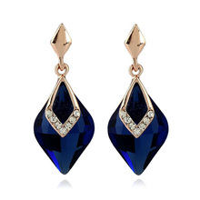 European Style Royalty Waster Drop Navy Blue Crystal Stud Earrings For Women Elegant   Fashion    Jewelry