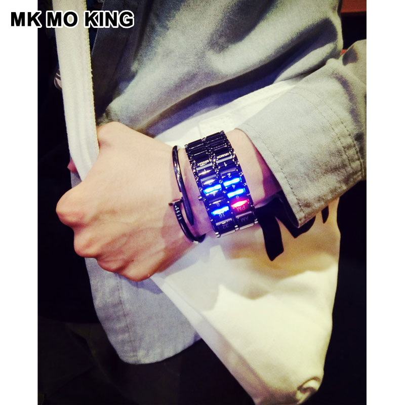 Mk Unique Metal Sport Fitness Gifts For Couple Role Men's X Women's Ladies LED Digital Wrist Watch Lovers Clock Dw Mk Bracelet