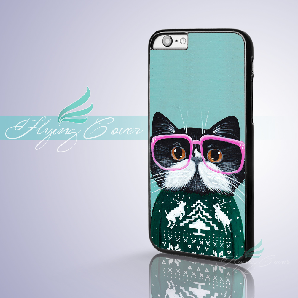 Coque Tumblr Cat in Sweater Capa Phone Cases for iPhone 5S 6 7 6S SE 5C 5 4S 4 7 Plus Case for iPod Touch 6 iPod Touch 5 Cover.