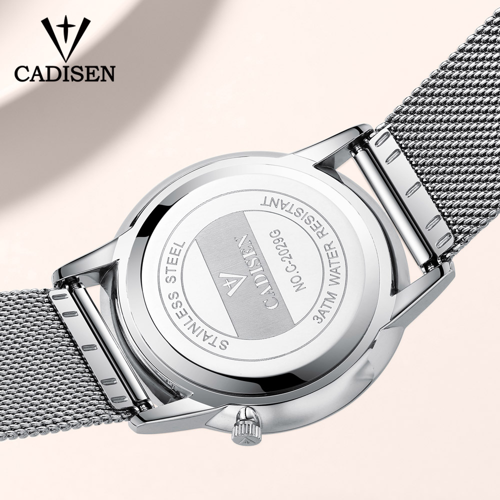 2018 New CADISEN Brand Fashion Watch Men Luxury Mesh Strap And Leather Bracelet Wristwatch Men 39 s Ultra Thin Dial Quartz Watch in Quartz Watches from Watches
