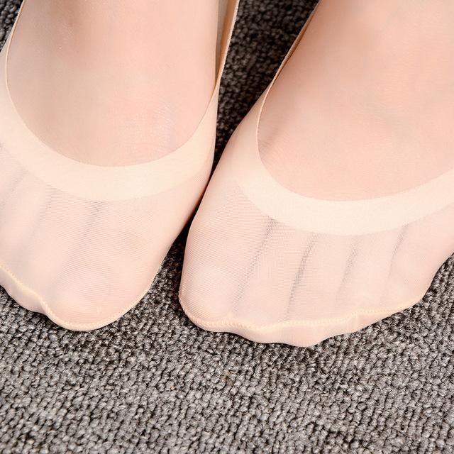 Ladies Summer Thin Sock Slippers Silicone Antiskid Ice Silk Socks Seamless Invisible Women Boat Socks