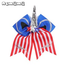 ncmama Hair Accessories 7 Cute Unicorn Cheer Bows with Clips 4th of July Sequin Horn Party USA Flag Kids Hairgrips