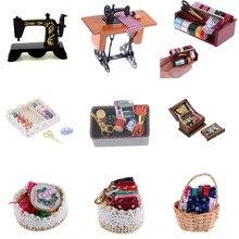 1:12 миниатюрная винтажная швейная коробка с ножницами-иглами, набор для украшения кукольного домика, аксессуары для мебели, игрушки для детей, декор кукольного домика