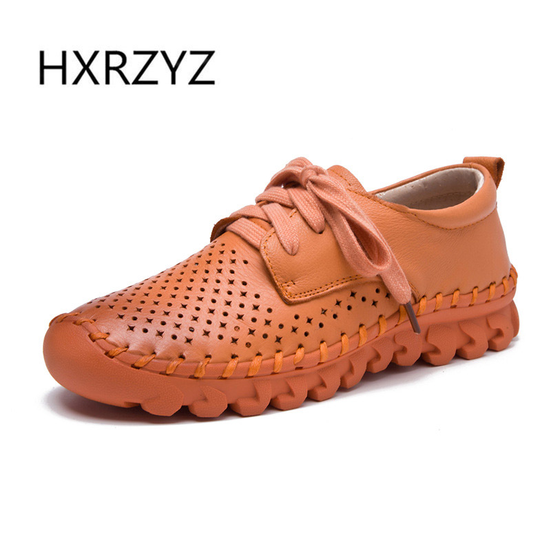 HXRZYZ women flat shoes soft genuine leather shoes spring/summer new fashion female lace-up hollow breathable women casual shoes front lace up casual ankle boots autumn vintage brown new booties flat genuine leather suede shoes round toe fall female fashion