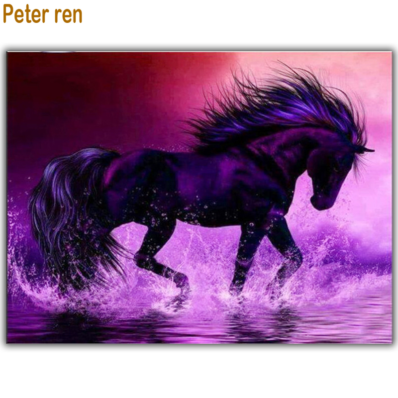 Peter ren DIY Diamond painting full square Diamond mosaic Crafts Diamond embroidery Animals by numbers Paintings Seawater Horse