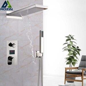 Image 4 - Luxury Bath Shower Mixer Kits Digital Display Wall Mounted  Rain Waterfall Shower Head Chrome Shower Faucet with Handshower