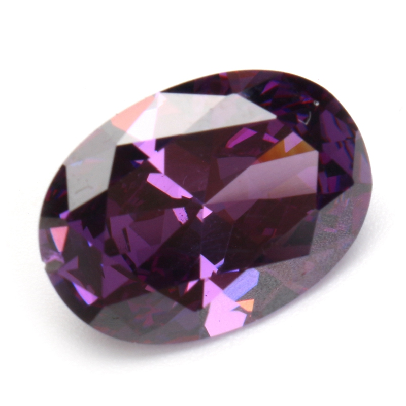 KiWarm 10.06CT Purple Artificial Zircon Gems Oval Faceted Cut 14x10MM Loose Gemstones DIY Jewelry Pendant Decorative Crafts