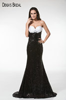 Black And White Evening Dresses Sweetheart Neck Sequined Sweep Train Evening Gowns Custom Made