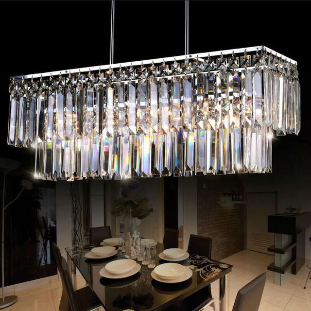 Luxury Crystal Rectangular Pendant Light Led E14 Er Lamp Chrome Lamparas Colgantes Comedor Luminaire For