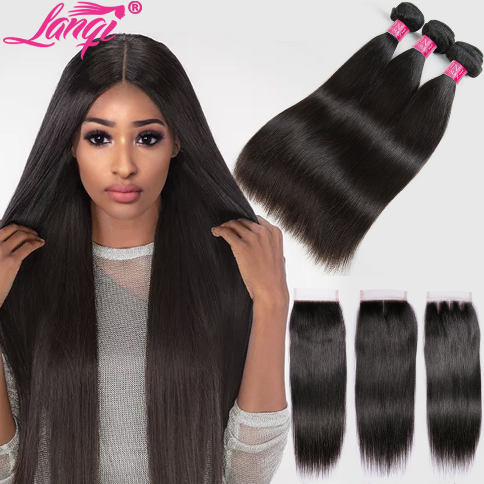 Brazilian Straight Hair Bundles With Closure Non Remy Hair bundles with closure Peruvian Human Hair Weave Bundles With Closure(China)