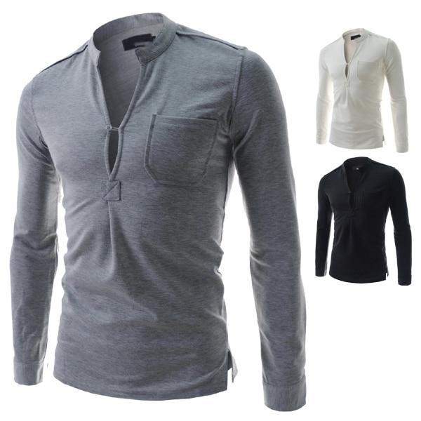 Online Shop 2015 New Design Men Mandarin Collar Long Sleeve T ...