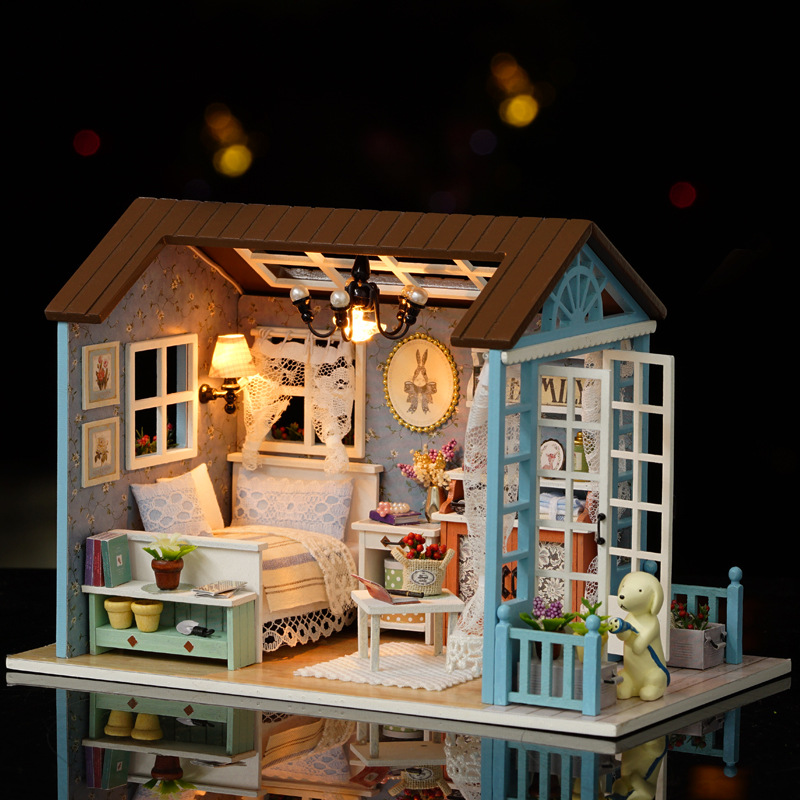 LED Light Miniature Furniture Doll House Dollhouse DIY Kit Wooden House Puzzles Model Toy for Kids Birthday Christmas Gifts (9)
