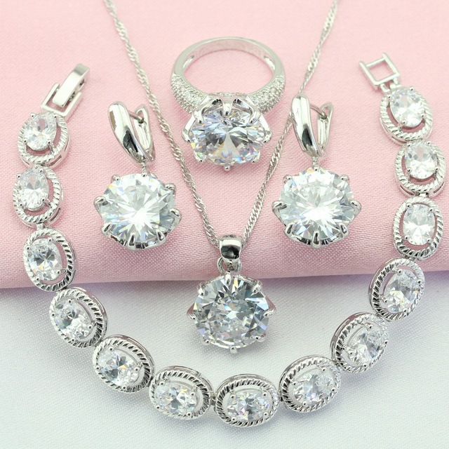 ASHLEY Fashion and Cute White Stone Silver Color Jewelry Sets For Women Earrings