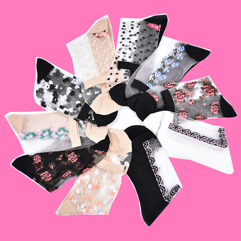 LIONZONE New Floral Women Summer   Socks   Cotton Sexy Thin Breathable 2018 Women Clothing Transparent   Socks   Wholesale