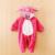 Lindo Animal Bebé Mamelucos de La Muchacha Del Rosa Tigres de Dibujos Animados Mono Pijamas Calientes Del Invierno Del Otoño Niños Ropa polar de Coral Stitch