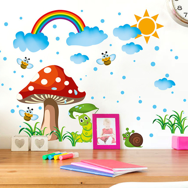 DIY Baby Room Cute Mushroom Clouds Rainbow Vinyl Wall Stickers Children  Graffiti Adesivo Para Paredes Glass