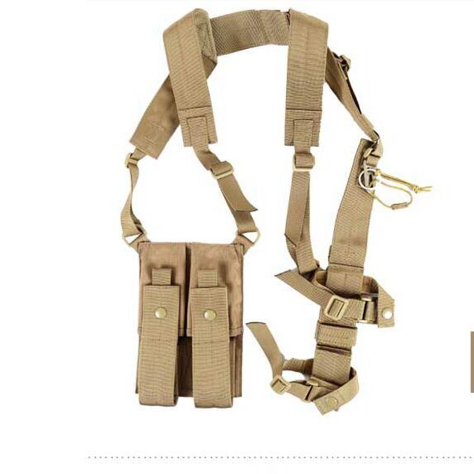 цена Tactical Airsoft MP7 Submachine Gun SMG Arms Shoulder Holster with Dual Magazine Pouch Outdoor hunting Gear