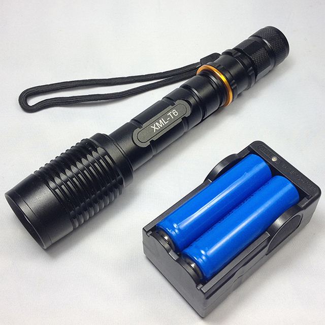 Super Bright NEW Waterproof 6000lumen CREE XML T6 LED Flashlight Torch Tactical 5 Mode Zoomable Flashlight Use 2x18650