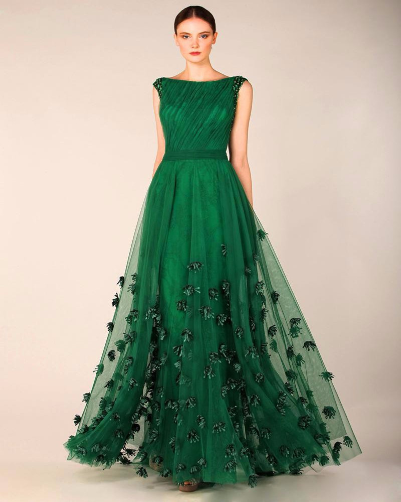 Dress Evening Gowns: Fashionable Evening Dress Emerald Green Tulle Cap Sleeve