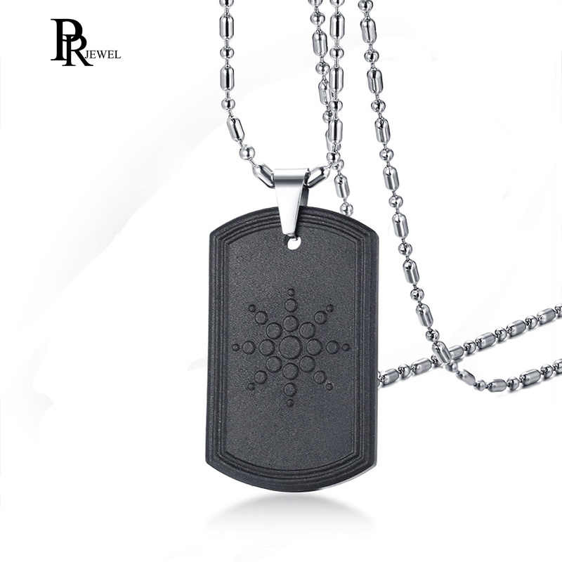 Stainless Steel Hematite Dog Tag Volcanic Lava Round Bio Scalar Energy Quantum Pendant Necklace with Free Chain