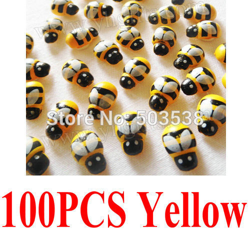 100PCS/LOT,selection:Wood mini ladybug stickers,Kids toys,scrapbooking kit,Early educational DIY.Kindergarten crafts.13x9mm,