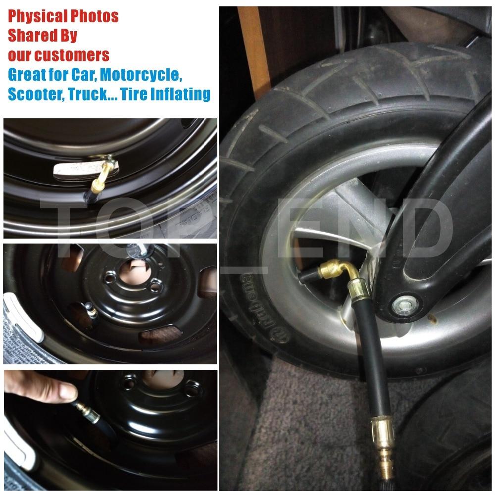 "Купить с кэшбэком 3pcs/set Flexible Rubber Valve Extension 5"" Long 90 Degree Bent End 100% Brass Stem Work w/ Tire Valve Directly Tire Inflation"