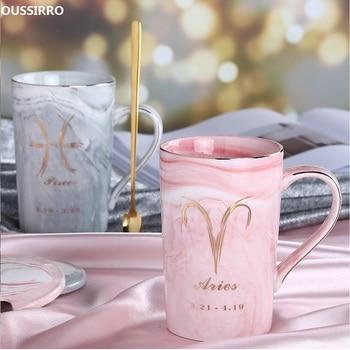 OUSSIRRO Natuurlijke Marmeren 12 Constellation Keramische Roze Zodiac Mok met deksel Koffie Mokken Creatieve Persoonlijkheid Cup 400 ml Lood- gratis