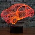 7 Ambiente de Vacaciones Niños Decorativos de Estilo del Coche del Escarabajo de color 3D Ilusion LED Luz de La Noche