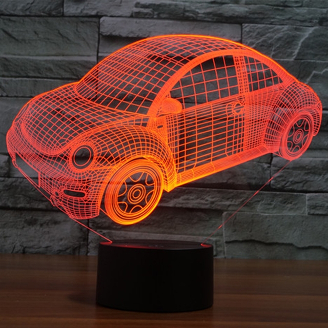 7 color Holiday Atmosphere Decorative Kids Beetle Car Style 3D Ilusion LED Night Light