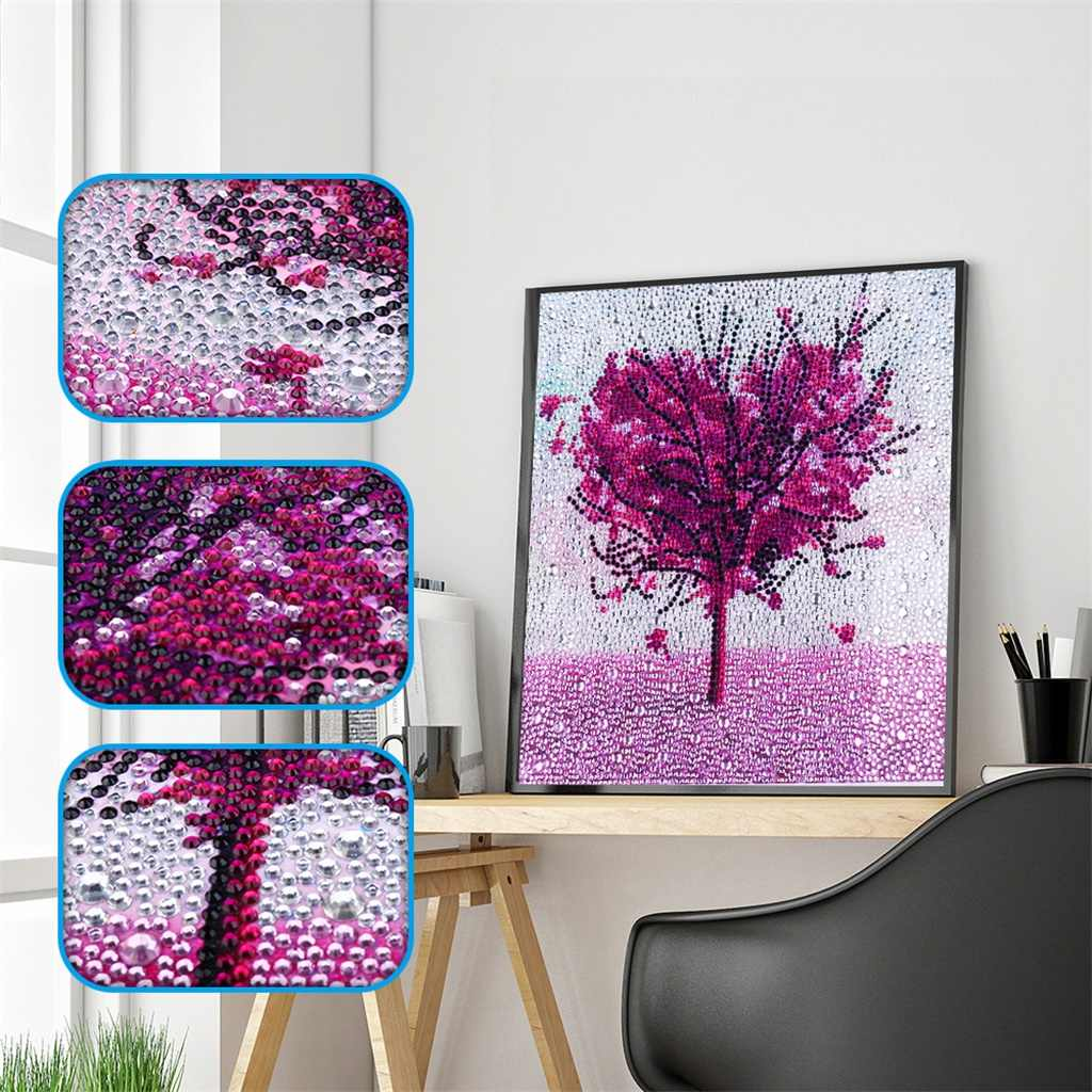 Purple Love Heart Tree Landscape DIY 5D Diamond Embroidery Crystal Full Special Shaped Diamond Painting Cross Stitch Kits Decor